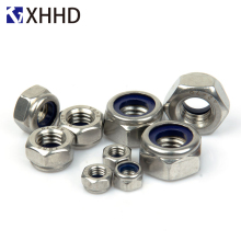 цена Nylon Hex Lock Metric Nuts Insert Locking Hexagon Nyloc Nut Locknut 304 Stainless Steel M2 M2.5 M3 M4 M5 M6 M8 M10 M12