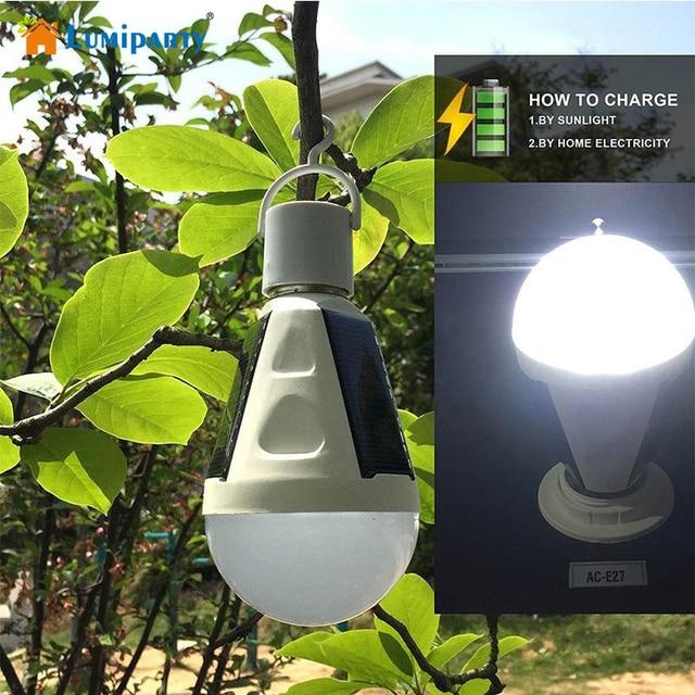 LumiParty Rechargeable 16 LED Solaire Lumière Ampoule Crochet Lampe ...