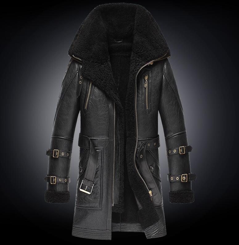 Männer Winter Dicker Pelz einem Leder Mantel männer Doppel Kragen Lange Schaffell Leder Jacke High end Echtes Leder outwear mäntel-in Echte Ledermäntel aus Herrenbekleidung bei  Gruppe 2