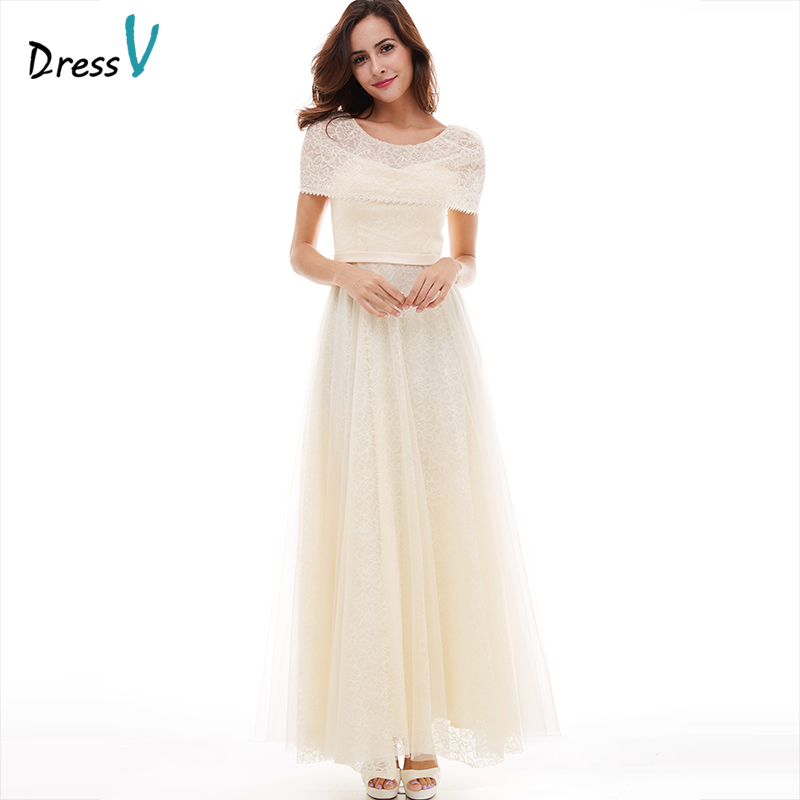 Dressv champagne long evening dress cheap scoop neck a line zipper up wedding party formal dress tulle lace evening dresses