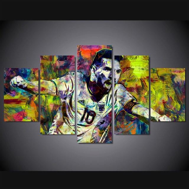 5 Panel Large Hd Printed Painting Lionel Messi Colorful Canvas Print Art Home Decor Wall