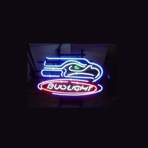 Business NEON SIGN board For LED Seattle Seahawks Football Bud REAL GLASS Tube BEER BAR PUB Club Shop Light Signs 17*14 image