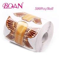BQAN 500Pcs Golden Nail Form UV Gel Nail Art Tip Extension Guide Tools for Salon Nails Sticker Nail Polish Curl Form