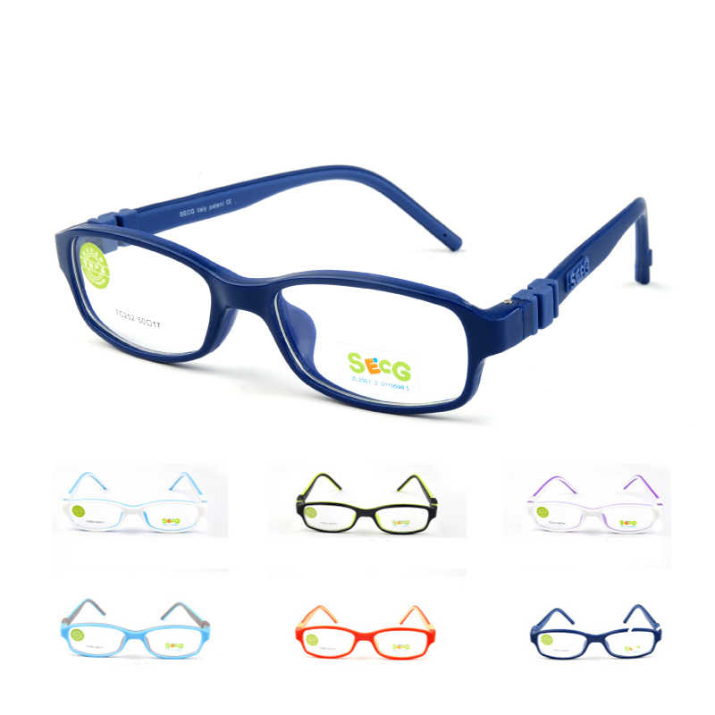 SECG No Screw Optical Myopia Glasses Children Frame Clear Transparent Glasses Ultralight Soft Kids Frame Detachable Eyeglasses