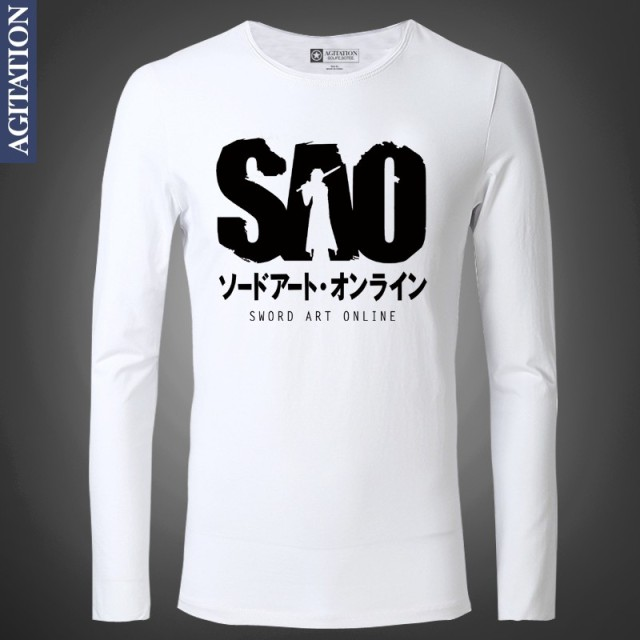 05e4096eb518 Fashion Long Sleeve T-shirt Custom Design Japanese Anime Sword Art Online  SAO Varsity Jersey Casual Wear Tops Tees UK
