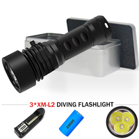 3LED underwater video light scuba flashlight 26650 powerful flashlight xm l2 torch waterproof lantern searchlight lampe tactique