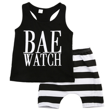 Hi Hi Baby Store Toddler Baby Boys Girls Outfits Tank Tops Striped Pants Clothes Cotton Sets 1-6 Year