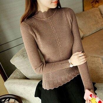 Облегающий эластичный вязаный длинный рукав мягкий полувер свитер женский свитер пуловеры зима осень полувысокий воротник свитер женский >> Have Fun Store