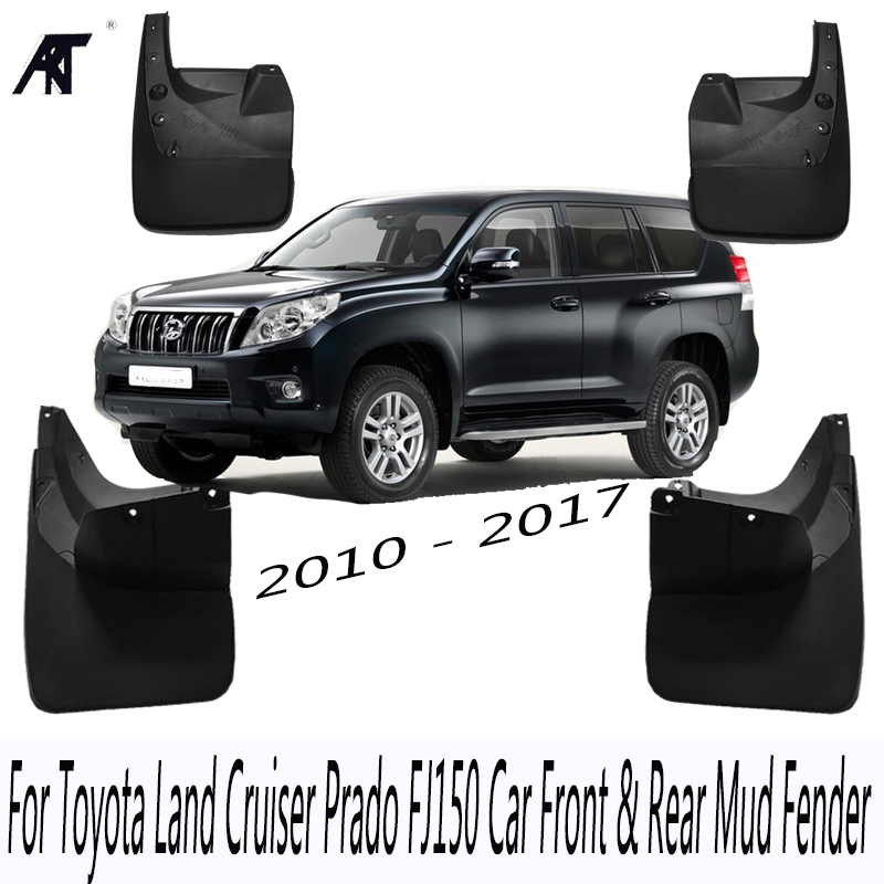 US $75 65 15% OFF|Black Front & Rear Mud Guard Fender Flaps Splash Mudflaps  Mudguard Trim For Toyota Land Cruiser Prado FJ150 10 17 Mudflaps-in