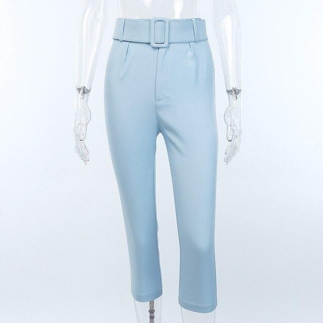 2019 Fashion High Waist Slim Fit Sweat Pencil Pants Women Belt Streetwear Casual Capris Workout Femme Black Blue Ninth Trousers 3