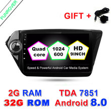 FUNROVER 2G+32G Quad Core 9 inch 1024*600 Android 8.0 Car GPS Navigation for Kia K2 RIO 2 Din Car dvd radio Player Stereo Wifi