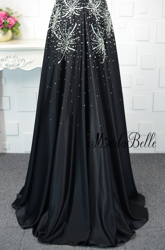 modabelle Strapless Long Black Prom Dress Rhinestone Ballkleider ...