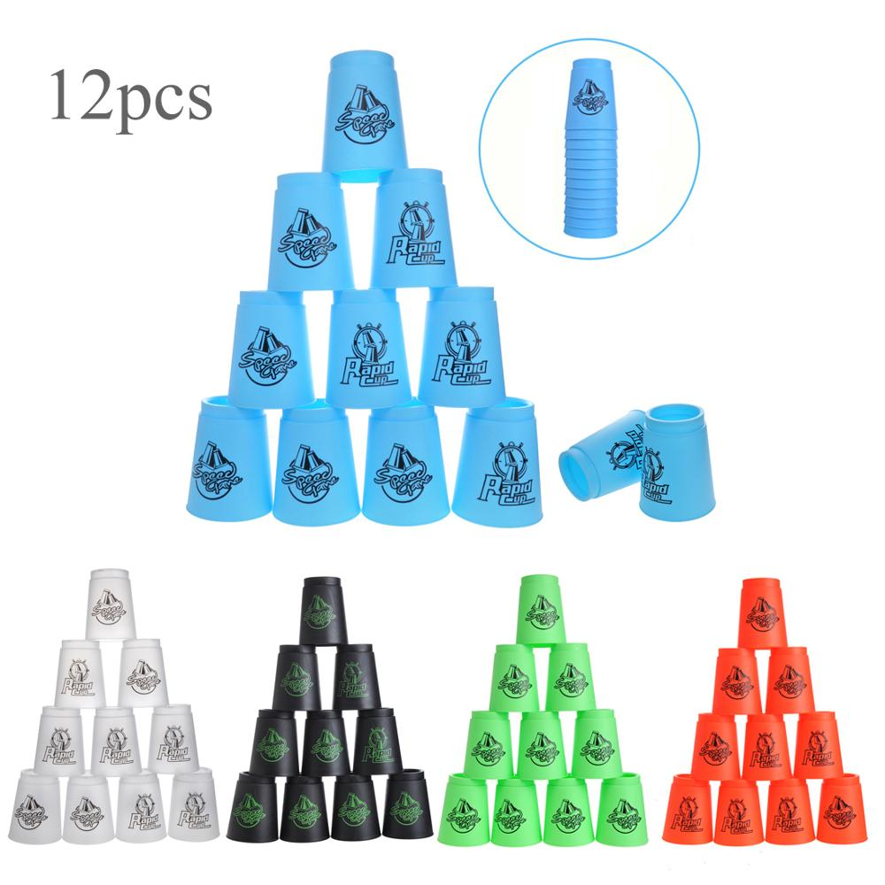 12PCS Quick Stacks Cups Stacking Game Funny Indoor Game Stacking Cups Speed Cup Training Fast Reaction