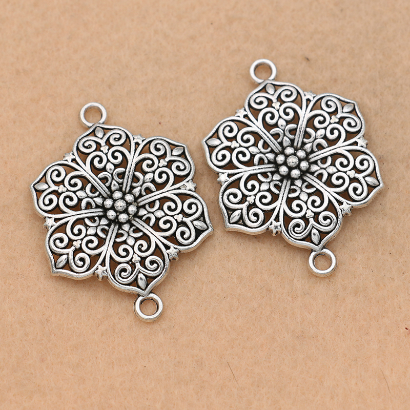 4pcs Tibetan Silver Plated Flower Charm Connector For Bracelet  Jewelry Making Accessories DIY 40x28mm