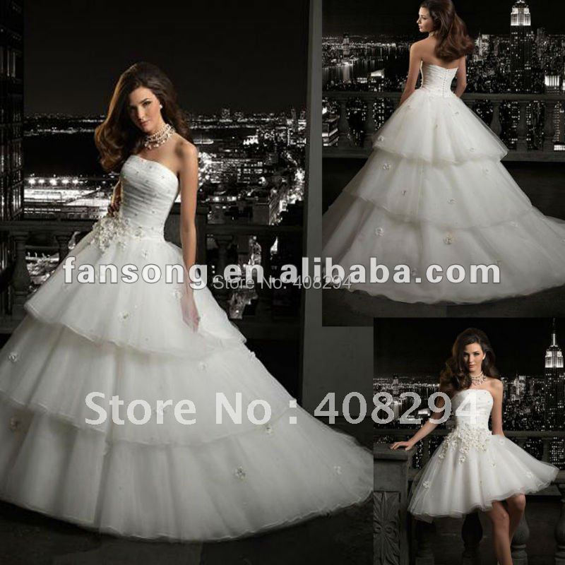 Gorgeous Strapless Ball Gown Organza Detachable Skirt