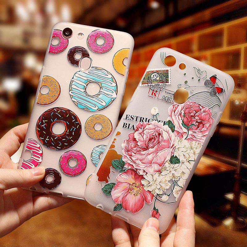 3D Relief Emboss Painted Case For OPPO R15 Mirror F5 Plus Case Silicone Soft TPU Floral Cases For OPPO A83 A1 A73 Cover
