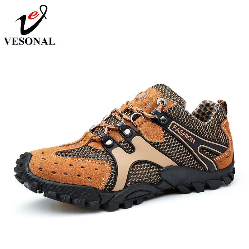 VESONAL Hot Sale Breathable Light Spring Summer Casual Sneakers Male Mesh Shoes For Men Cow Suede Leather Adult Walking Footwear vesonal 2017 quality mocassin male brand genuine leather casual shoes men loafers breathable ons soft walking boat man footwear