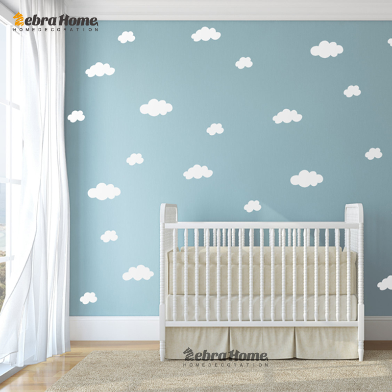 Diy Boy Bedroom Ideas Bedroom Wallpaper Designs Bedroom Sets Decorating Ideas Brown Black And White Bedroom: DIY White Cloud Wall Stickers Baby Nursery Bedrooms Home
