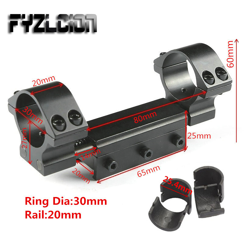 Fashion Style 25.4mm/30mm Ring Flat Top Adapter With Stop Pin 20mm Track Weaver Picatinny Rail And Spring For Air Rifle Range Installation Hunting Gun Accessories