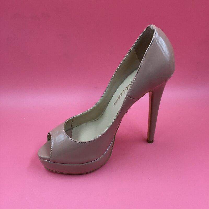 5b40aa4a2 Nude Real Photo Patent Leather Women Pumps Peep Toe Stilettos High Heels  Platform Shoes OL Pump