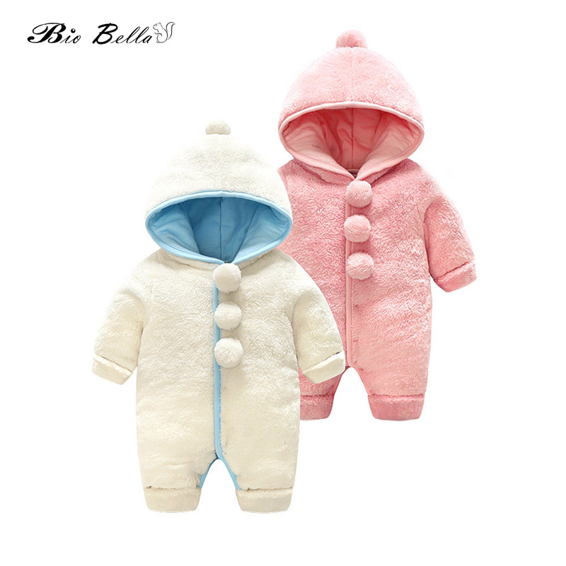 Newborn Boys Girls   Rompers   Coral Fleece Winter Warm Bebes Kids Clothes Long Sleeve Clothing Big Balls Overall Babies Jumpsuit