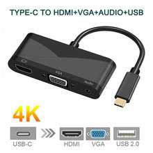 3 in 1 USB-C to 4K HDMI VGA with Audio Adapter Thunderbolt Port Compatible+USB 2.0 Converter For Macbook for Samsung S8