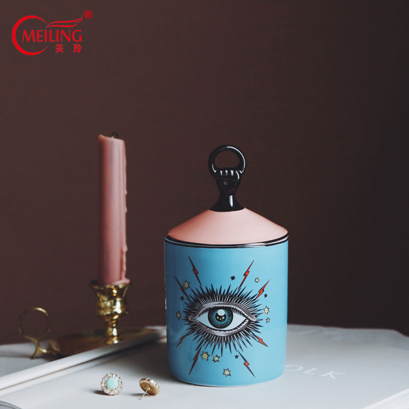 Decorative Storage Jar Ceramic Star Eyes Cup With Lid For Candle Makeup Brush Unique Wedding Birthday