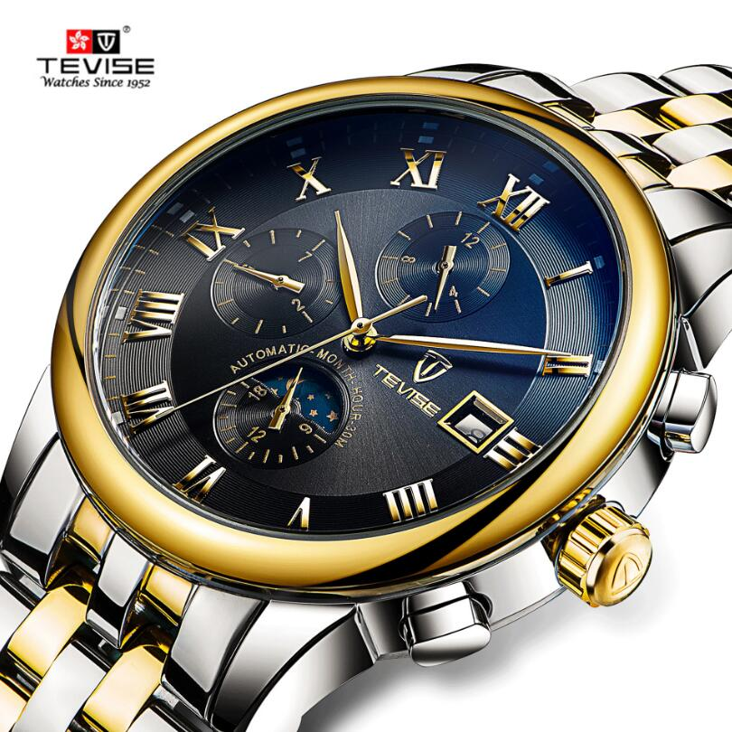 Casual Tevise Montre Homme Men's Day/Month Moonphase Auto Mechanical Watches Wristwatch Gift Box Free Ship reloj hombre jaragar fashion watch mens moonphase flywheel auto mechanical stell wristwatch gift box free ship