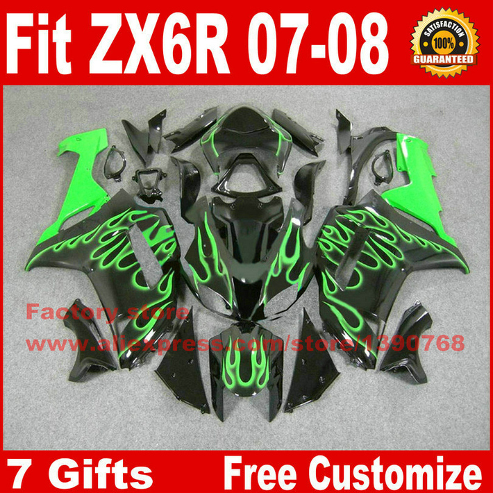 Full fairing kit for Kawasaki ZX6R 2007 2008 motorcycle fairings ZX-6R 07 08 Ninja 636 green flames in black bodywork set ZQ40 abs full fairing kit for kawasaki zx10r 2006 2007 red flames in black plastic fairings set ninja zx 10r 06 07 body kits zs26