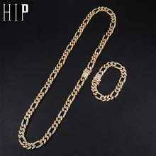 Hip Hop 1Set 13MM Gold Iced Out Paved Rhinestones Miami Curb Figaro Link Chain Necklace CZ Bling Rapper For Men Jewelry