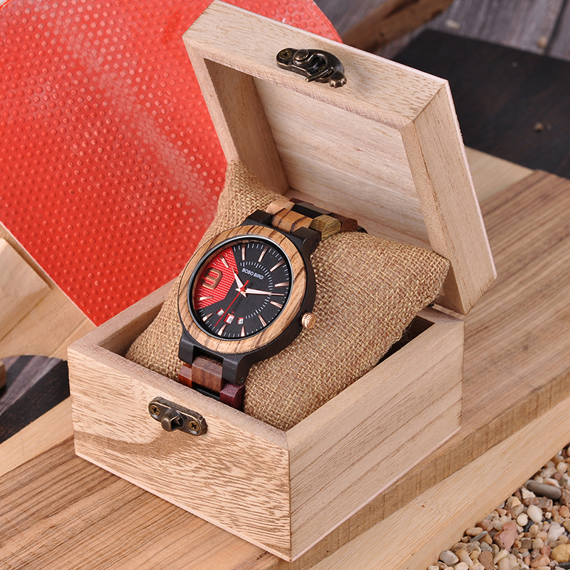 Mixed Wooden Wristwatch, in aWooden Gift Box 5