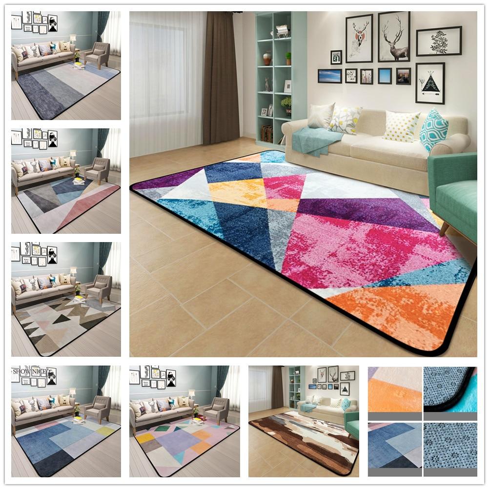 Coloré Spliced Tapis pour Salon Doux Flanelle Salon Tapis Géométrique Conception Tapis Vestiaire Chambre Anti-Slip Mat