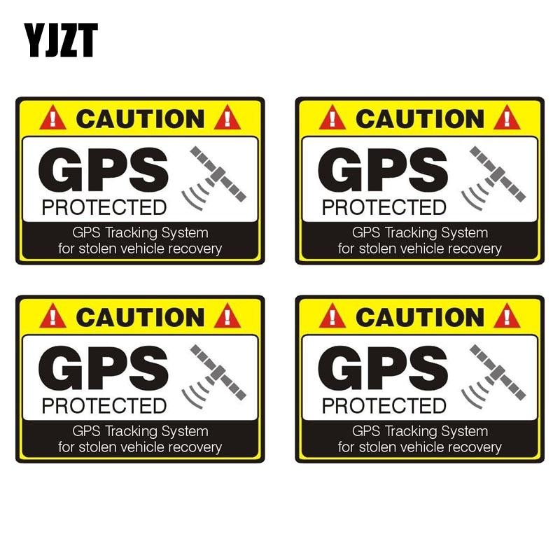 YJZT 12CM*8.1CM 4X CAUTION GPS PROTECTED Car Sticker Reflective Motorcycle Parts C1-7584