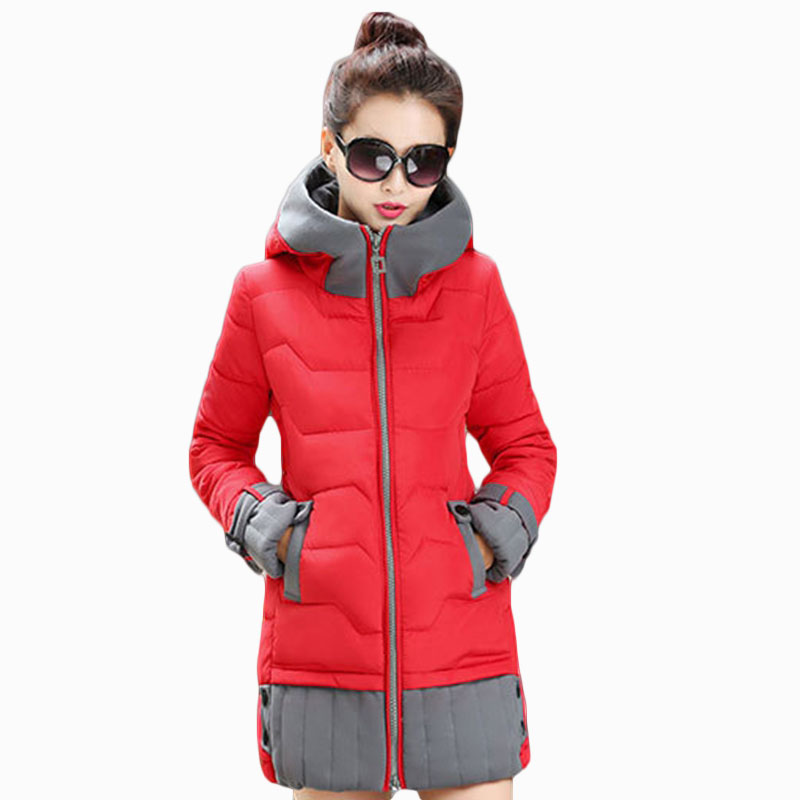 NEW HOT WOMEN WINTER JACKER 2017 PLUS SIZE MID-LENGTH SPLICED HOODED SLIM THICK WARM FEMALE PARKAS COTTON WADDED COAT ZL667