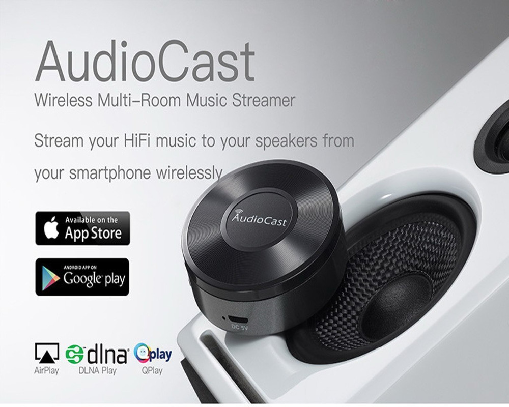 US $45 0 |Wireless AudioCast M5 Airplay DLNA Music Receiver iOS Android  Airmusic WIFI HiFi Audio Speaker Spotify Sound Streamer-in Set-top Boxes  from