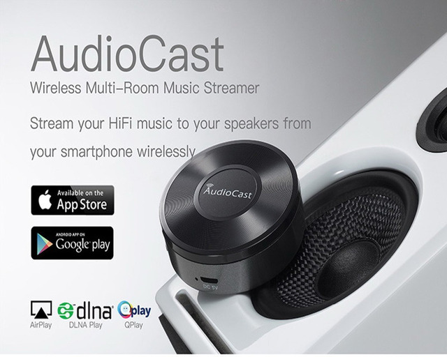 US $45 0  Wireless AudioCast M5 Airplay DLNA Music Receiver iOS Android  Airmusic WIFI HiFi Audio Speaker Spotify Sound Streamer-in Set-top Boxes  from