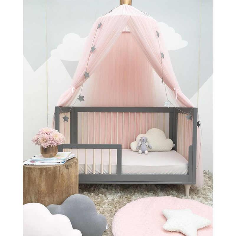 Mosquiteiro para Berço do bebê Princesa Dome Cama Dossel Da Cama Das Crianças Rodada Rendas Mosquiteiro Para O Bebê Dormir 7 Cores Decoração do Quarto
