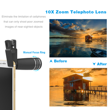 APEXEL 10 in 1 Mobile phone Lens Telephoto Fisheye lens Wide Angle Macro Lens+CPL/Flow/Radial/Star Filter for all smartphones 1