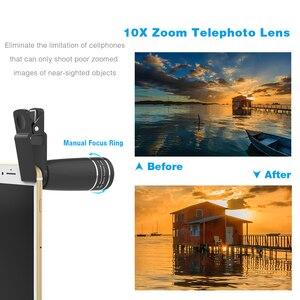 Image 2 - APEXEL 10 w 1 obiektyw telefonu komórkowego teleobiektyw obiektyw typu rybie oko szerokokątny obiektyw makro + CPL/Flow/Radial/filtr gwiezdny dla wszystkich smartfonów