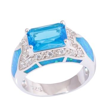 CiNily creado azul fuego Ópalo Azul de piedra de zirconio Chapado en plata venta al por mayor anillo de joyería para mujeres tamaño 6-10 OJ9620
