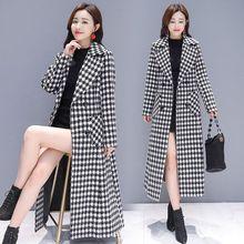 Женское длинное зимнее толстое шерстяное пальто в ломаную клетку