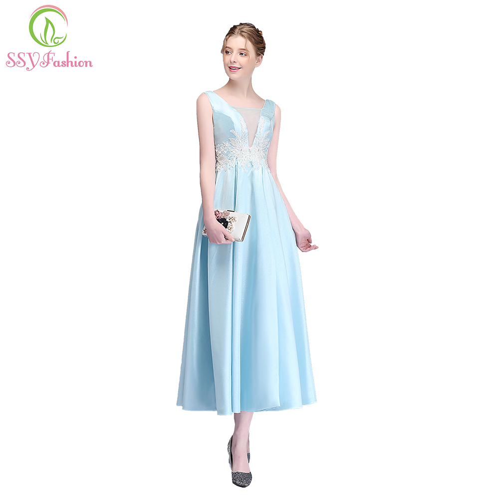 03131753b43a SSYFashion New Fresh Light Blue Satin Evening Dress V-neck Appliques  Beading Ankle-length Party Gown Custom Reflective Dress