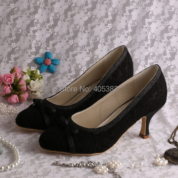 No Heel Wedding Shoes: Wedopus Various Colors Discount Mid Heel Black Lace Ladies
