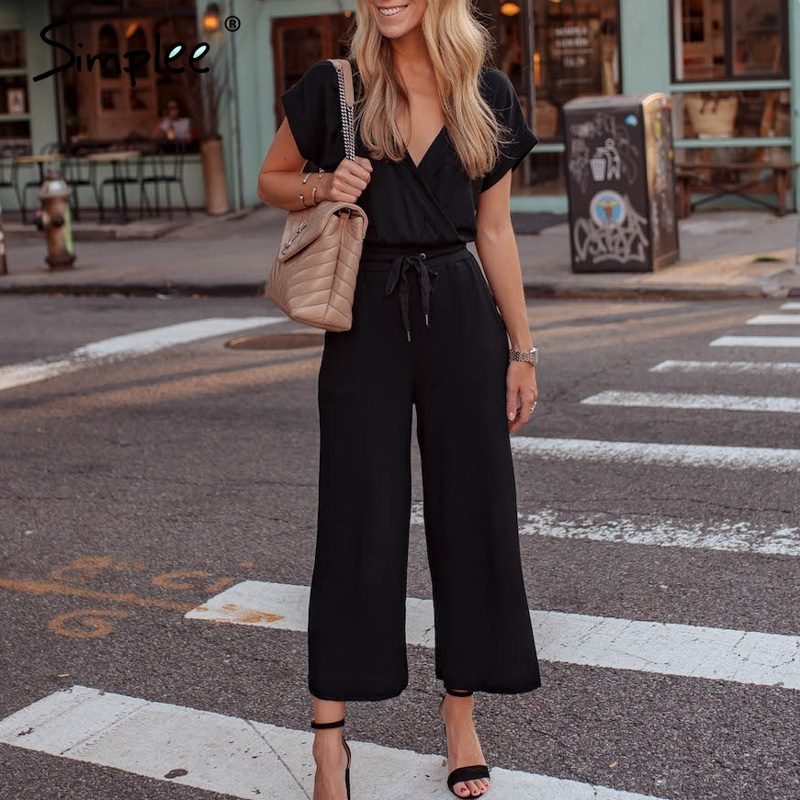 Simplee Sexy short sleeve plus size women   jumpsuit   Summer v neck long black overall Vintage office ladies solid   jumpsuits   2019