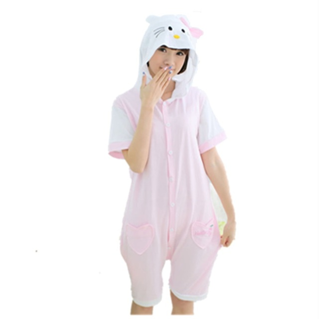 fe05f98e7124 Cartoon Anime Cute Kitty Cosplay Costume Summer Jumpsuit Short ...
