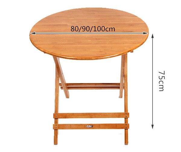 Бамбуковая мебель круглый стол складной 80-100 см открытый/закрытый сад ножки стола складной Портативный складной обеденный стол бамбуковая ...