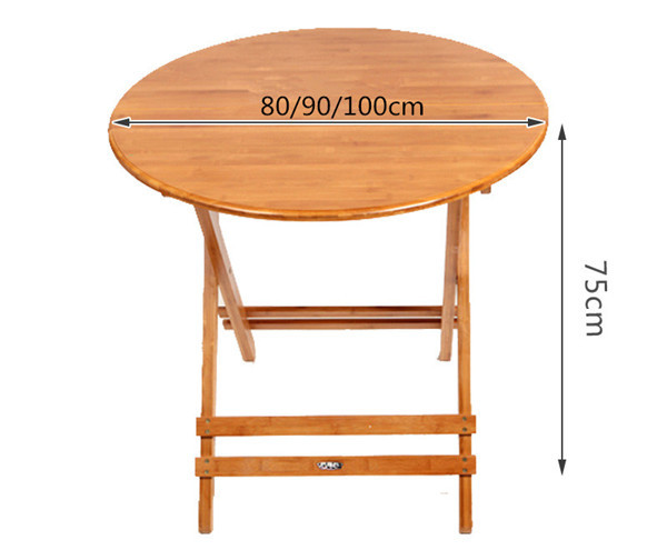 Bamboo Furniture Folding Round Table 80 100cm Outdoor Indoor Garden Legs Foldable Portable