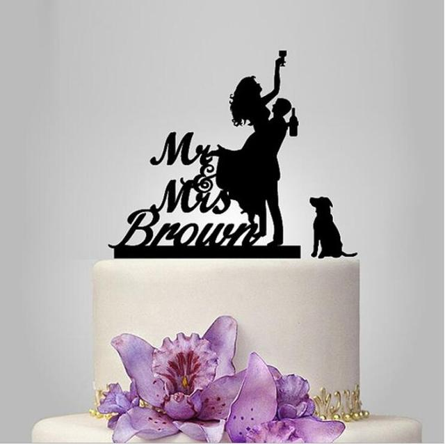 Custom Drunk Bride Wedding Cake Topper With Dog Personalized Toppers Acrylic Party