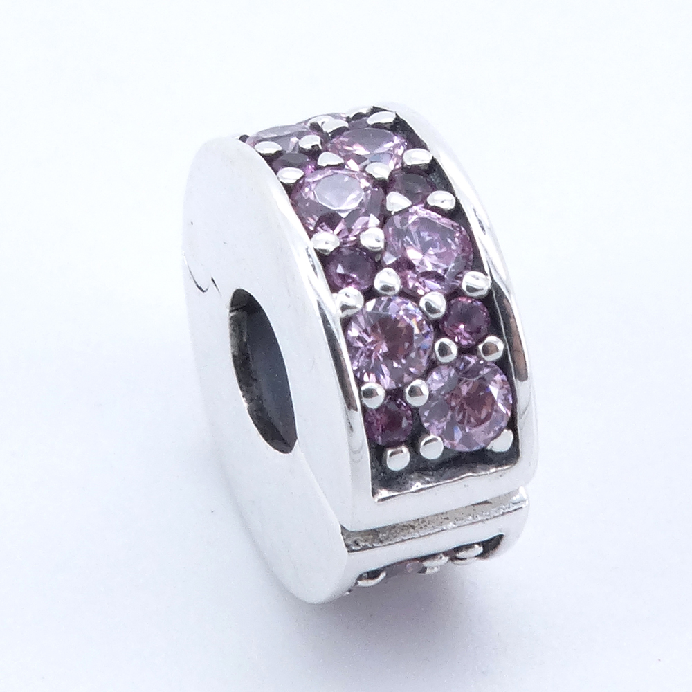 Woman Jewelry Making Purple Mosaic Shining Spacer Clip Sterling silver Jewelry Pandulaso Fit European Bracelet Loose