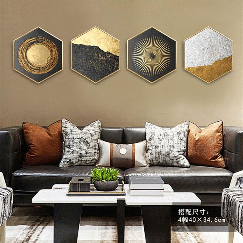 Nórdico Geometria Decoração Da Parede Pintura Cascalho Atmosférica Ouro Roxo Pinturas Sala de estar Sofá Parede Pintura Mural R644